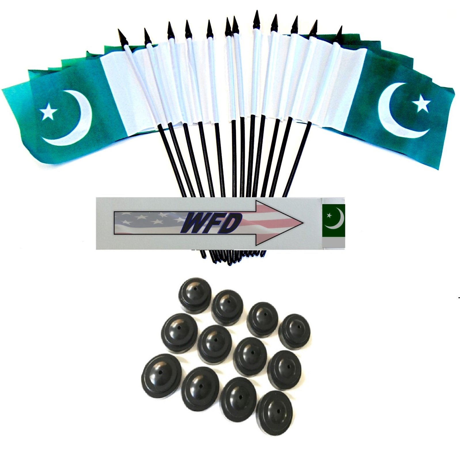 Pack of 12 4''x6'' Pakistan Polyester Miniature Office Desk & Little Table Flags, 1 Dozen 4''x 6'' Pakistani Small Mini Handheld Waving Stick Flags with 12 Flag Bases (Flags with Stands)