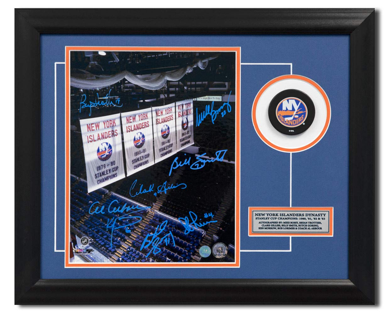 New York Islanders Stanley Cup Banners 8 Player Autographed 19X23 Puck Frame Certified Authentic