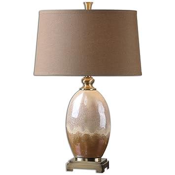Amazon Com Uttermost 26156 Eadric Ceramic Table Lamp Brown Home