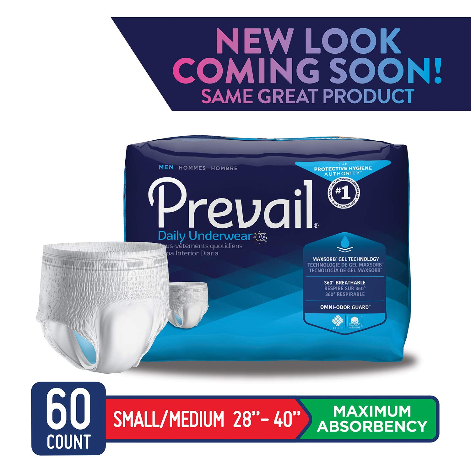 Prevail Maximum Absorbency Incontinence Underwear for Men Small/Medium 60 Count Breathable Rapid Absorption Discreet