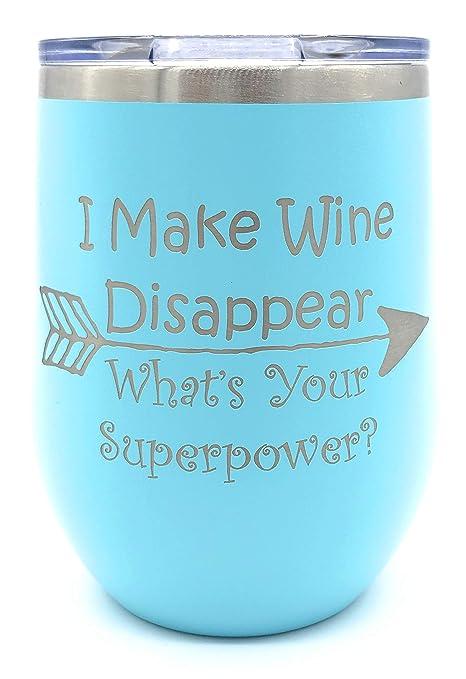 Amazon.com: Vasos de vino de vidrio, doble pared, Acero ...