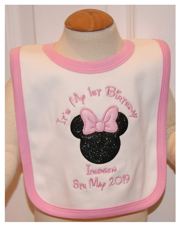 Personalised Embroidered baby girls bib unique gift//keepsake 1ST BIRTHDAY