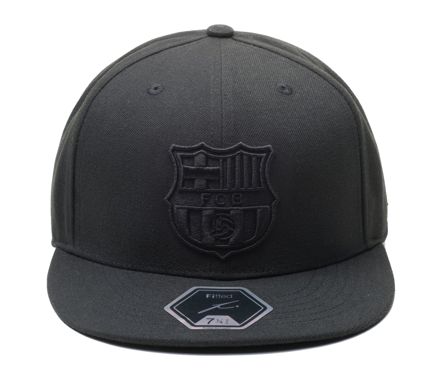 Amazon.com   Fi Collection FC Barcelona Officially Licensed Blackout True  Fitted Cap (7 5 8)   Sports   Outdoors 8d14dbc2dc0