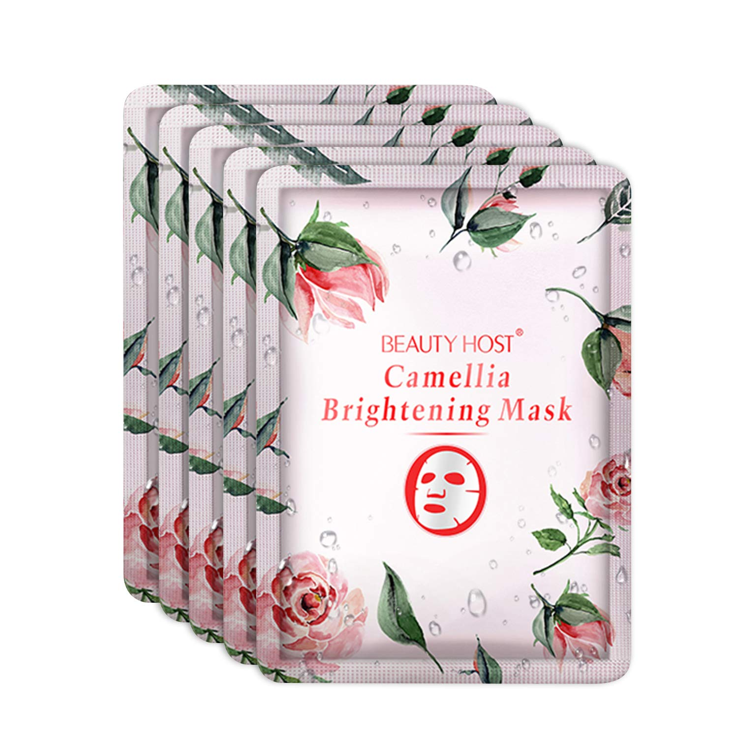 Beauty host Camellia Facial Mask Sheet, Nourishing and Brightening Facial Mask with Camellia Extracts, Purifying Skin, Cruelty Free, Anti Wrinkle, 5 Pack