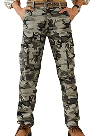20e84abbe2468 Panegy Men's Camouflage Army Combat Wild Vintage Work Wear Cargo Pants  Hunting Jogger Trousers Camo 31
