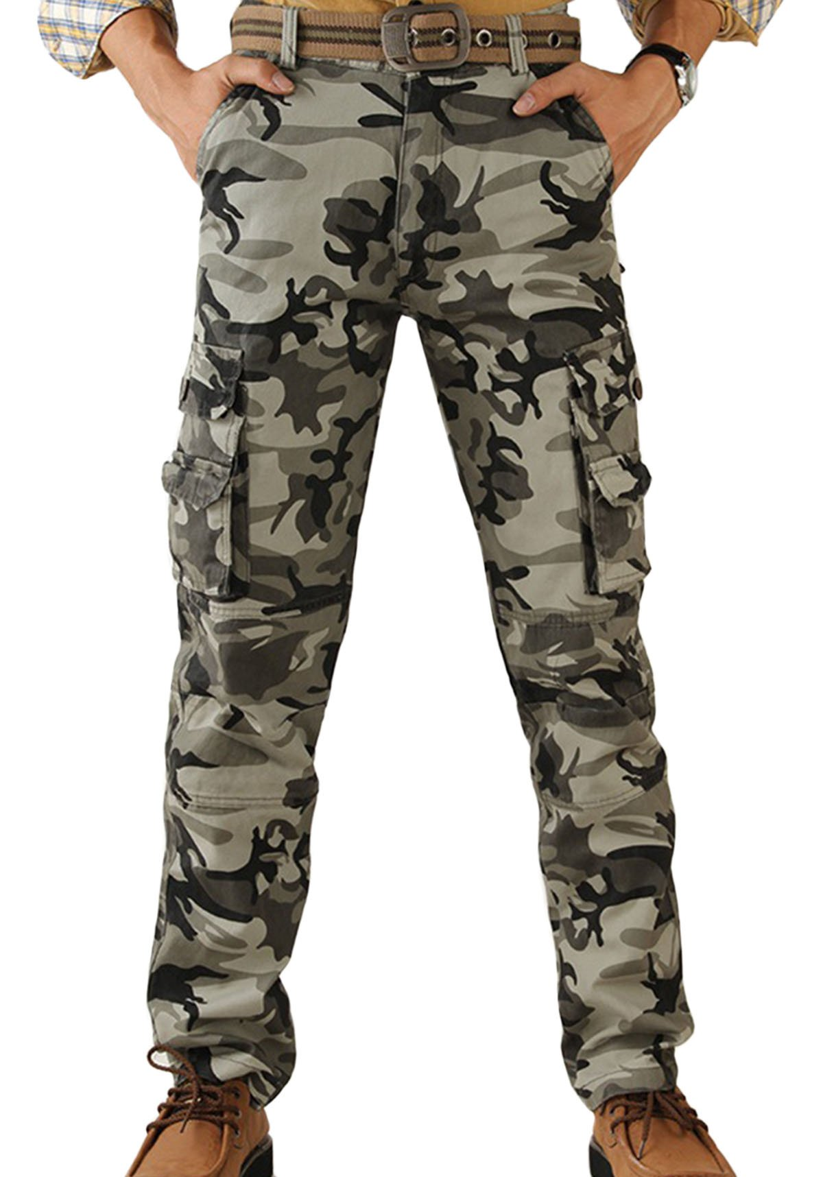 Panegy Men's Camouflage Army Combat Wild Tactical Work Wear Cargo Pants Camping Long Trousers Camo 36