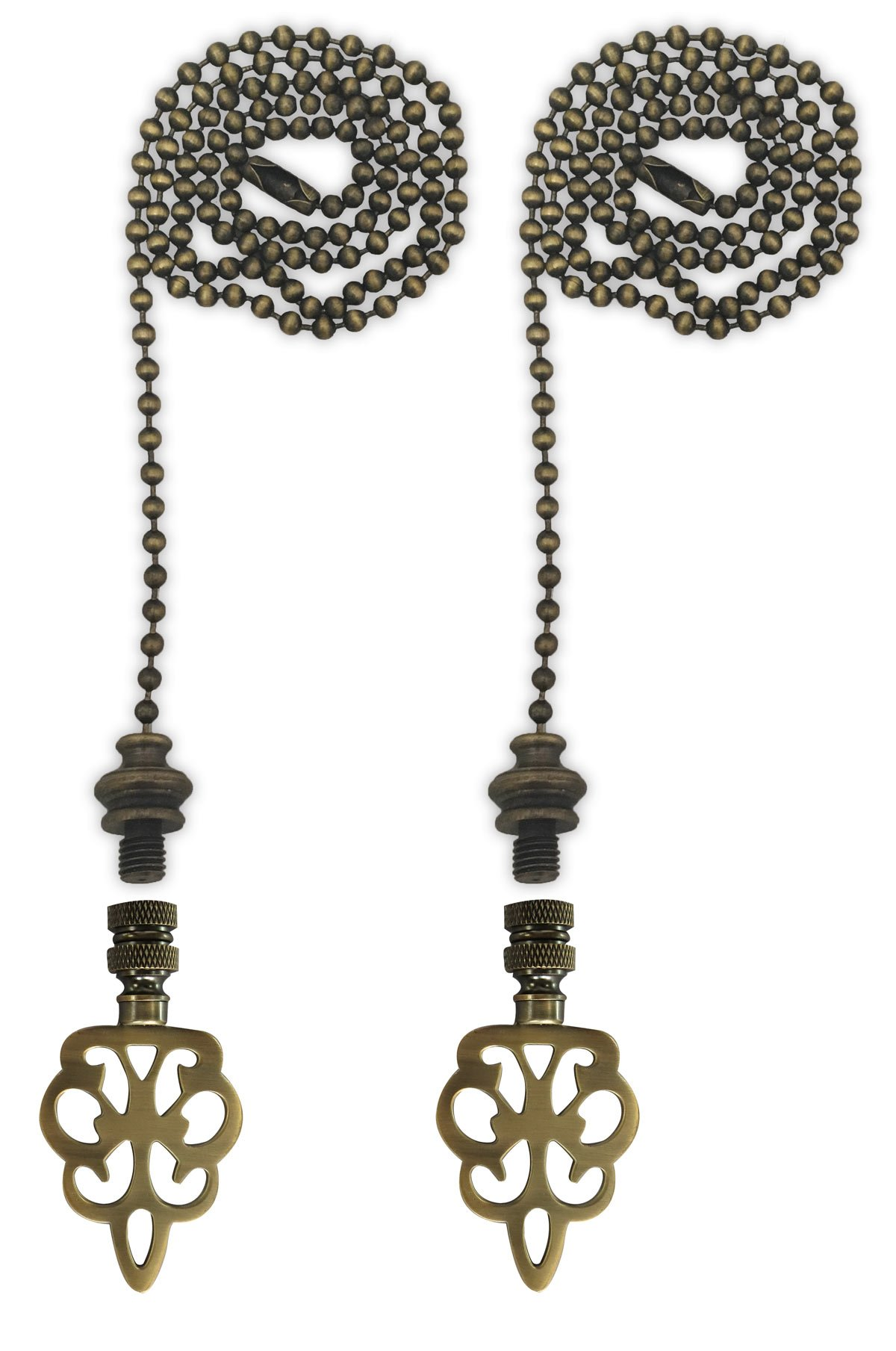 Royal Designs Fan Pull Chain with Open Filigree Motif Finial – Antique Brass – Set of 2