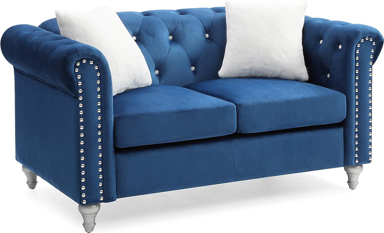 Glory Furniture Raisa , Navy Blue Loveseat, 2 Seater