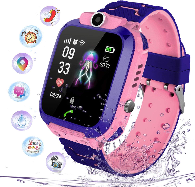 Niños Smartwatch Impermeable, Reloj Inteligente Phone con LBS Tracker SOS Chat de Voz Cámara Despertador Juego Cálculo para Regalos Estudiantes Compatible con iOS Android, (Rosa)