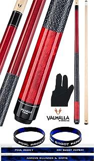 product image for Valhalla by Viking 2 Piece Pool Cue Stick Red VA114 Irish Linen Wrap 18-21 oz. Plus Billiard Glove & Bracelet