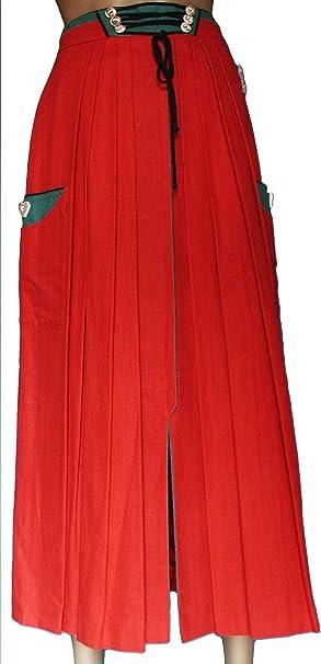Perry - Falda tradicional tirolesa de lana Maxi en un diseño clásico y ...