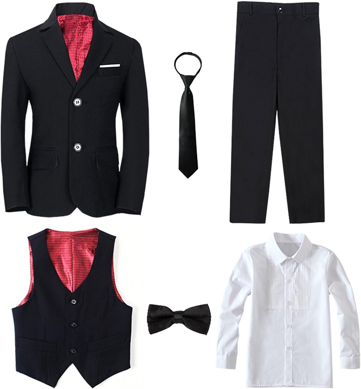 Magen Kids Boy SLIM FIT Formal Bridal 7Pcs Set Suit S1-18 BURGUNDY 2 Buttons