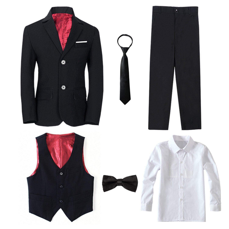 Yanlu 6 Piece Formal Boys Suits Sets Size 7 Black Boy Tuxedo Suit Blazer Pants Vest Shirt Necktie and Bow Tie