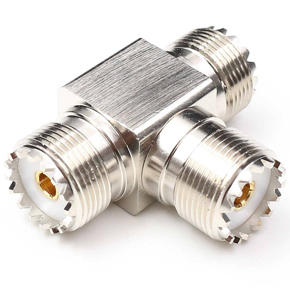 ANHAN 3 way Tee type UHF Splitter connector RF adapter UHF female SO-239 PL259 to 2 UHF female adapter 1Pack