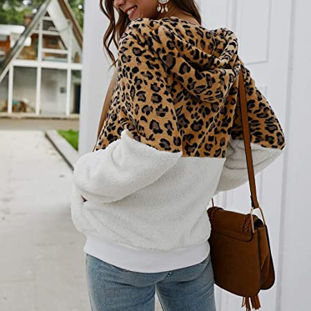 Amazon.com: TIANRUN Women Leopard Print Patchwork Fleece ...
