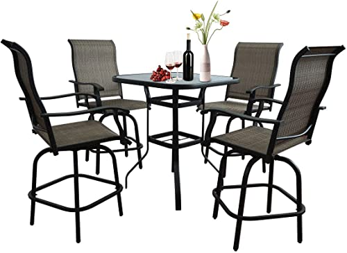 5 Pieces Bistro Set,Outdoor Furniture Patio bar Set,Bistro Set Height Swivel Patio Chairs,360 Degree Terrace Balcony Swivel Bar and Table,All-Weather Padded Sling Fabric Stools