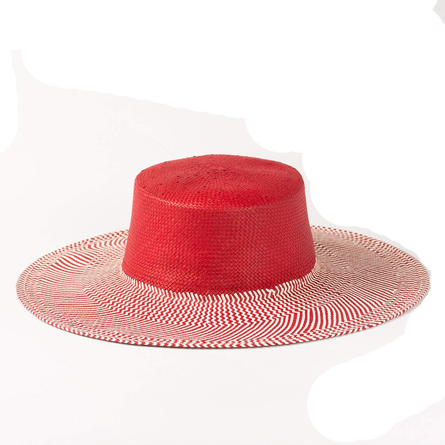 003 Red Without Trim CHENTAI Sun Hats for Women Summer Beach Hats Paper Straw Hat for Ladies Boater Hat
