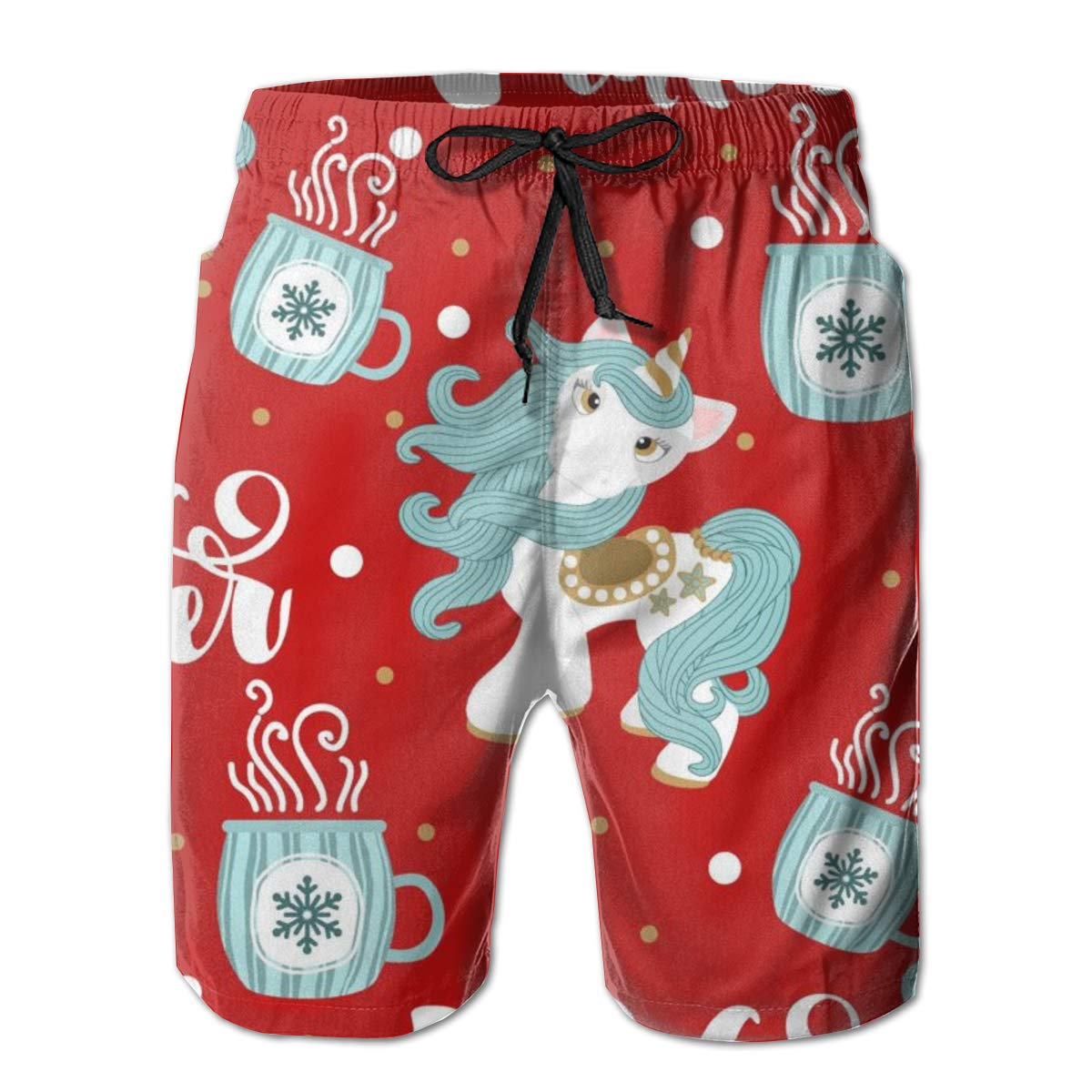 Christmas Unicorn and Festive Print Swim Trunks Summer Beach Shorts Pockets Boardshorts for Men