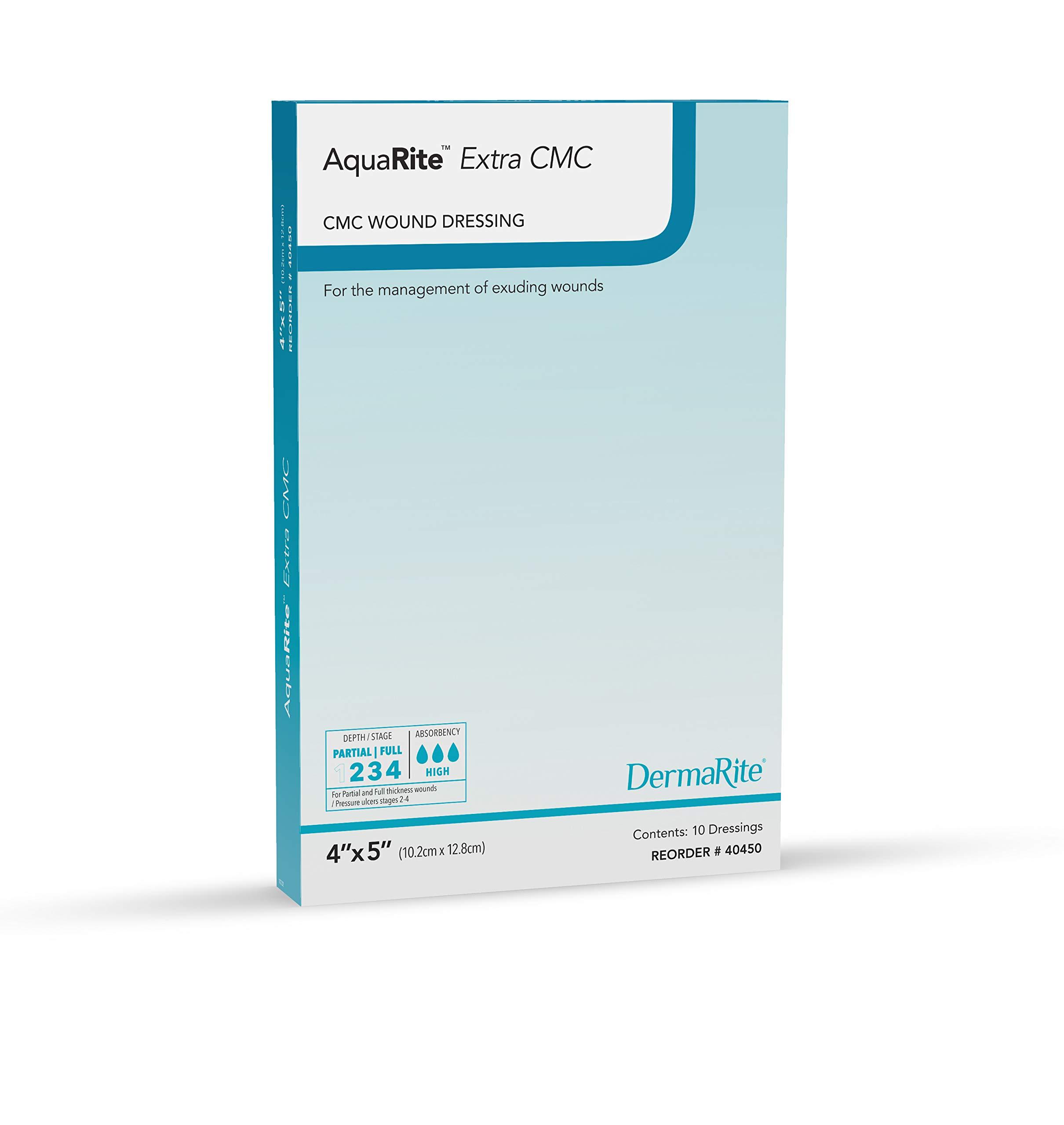 Dermarite Industries Aqua Rite Extra Cmc Hydro Fiber, 4x5, 10 Count