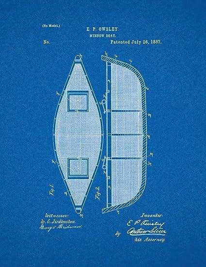 Amazon minnow boat patent print art poster blueprint 18 x 24 minnow boat patent print art poster blueprint 18quot malvernweather Choice Image