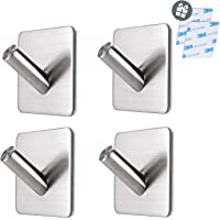 Hanamichi Adhesive Hooks, Towel Wall Hooks Robe Hanger Anti-Skid Heavy Duty Stick On Shower Hooks for Hanging Bathroom Home Kitchen Office Door-4 Packs