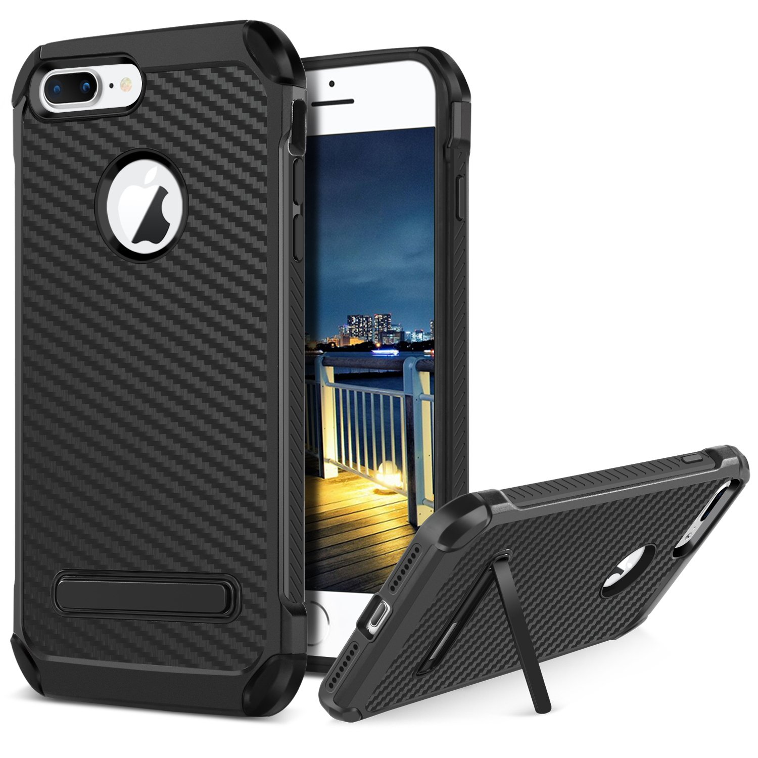BENTOBEN Phone Case for Apple iPhone 8 Plus, Protective Shockproof Kickstand Cell Phone Case, Slim 2 In 1 Heavy Duty Hybrid Hard PC Cover Soft TPU Bumper Carbon Fiber Texture Phone Case Cover - Black