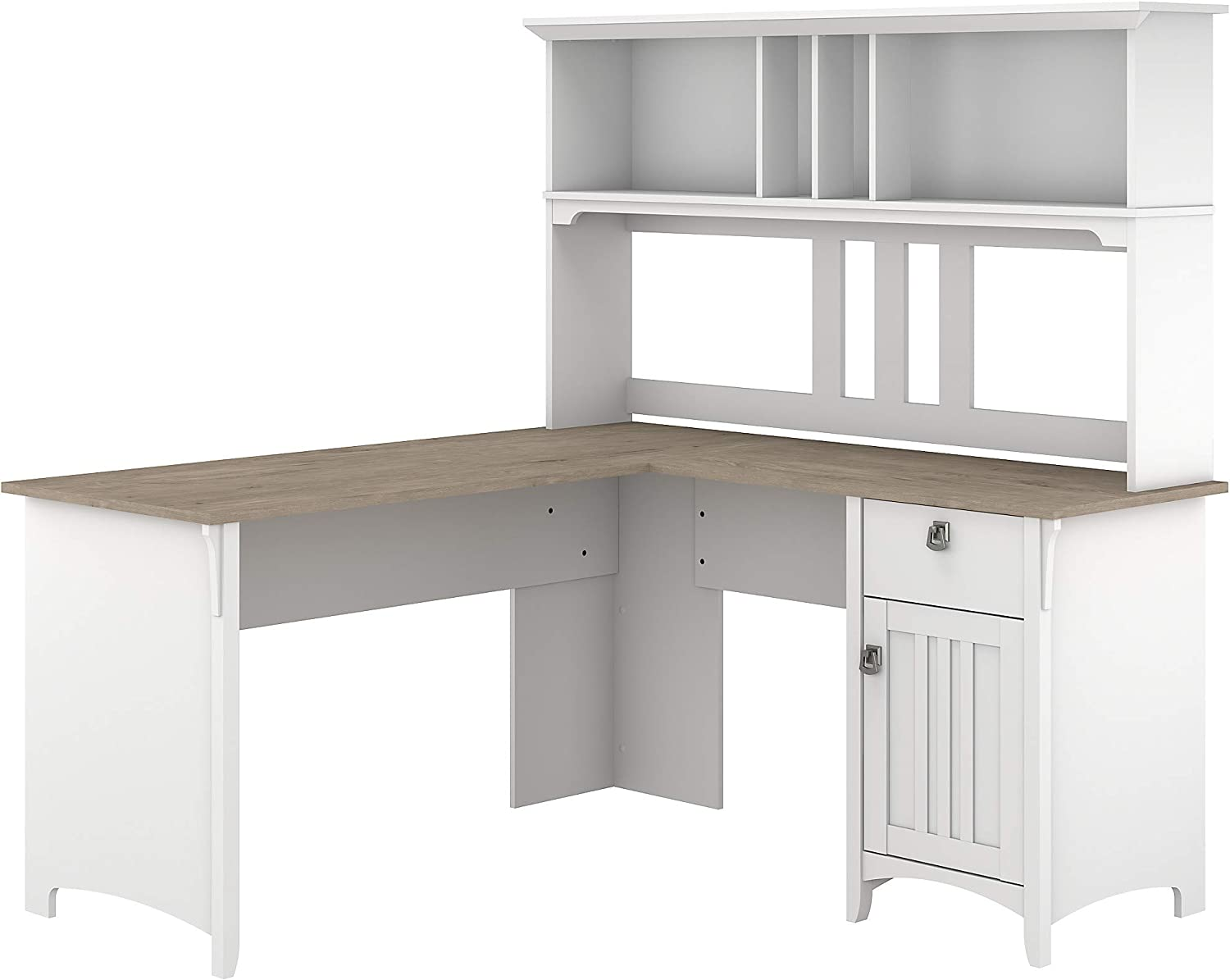 Bush Furniture Salinas L Shaped Desk with Hutch, 60W, Pure White and Shiplap Gray