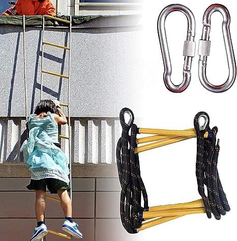YOLE Escalera De Cuerda Blanda - Resistente Al Fuego Emergencia Seguridad contra Incendios Escalera De Evacuación con Mosquetones Gancho para Niños Adultos Adecuado para La Escalada En Incendios,15M: Amazon.es: Deportes y aire