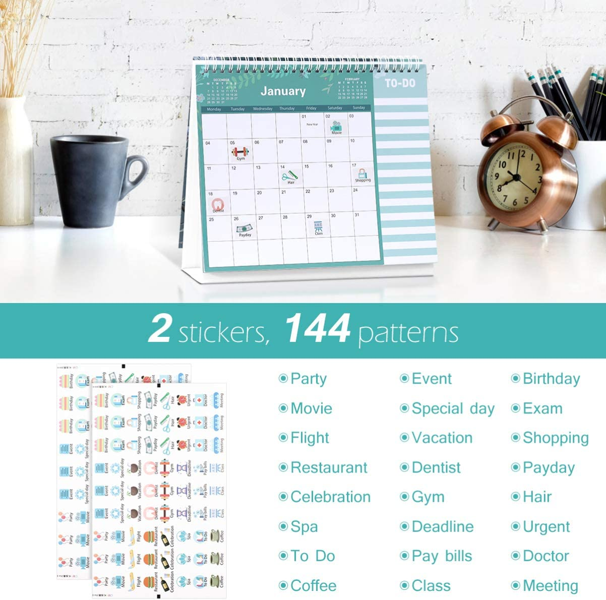 12 meses calendario de escritorio planificador diario para casa y oficina Tomaibaby Calendario de mesa 2021 calendario mensual