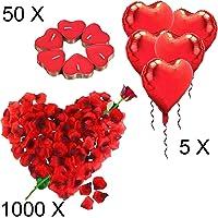 Kit Romantico di Candele e Petali. 50 Candeline a Forma di Cuore + 1000 Petali di Rosa di Seta + 5 Palloncini a Cuore Rossi - Decorazioni per Matrimonio, San Valentino e Fidanzamento