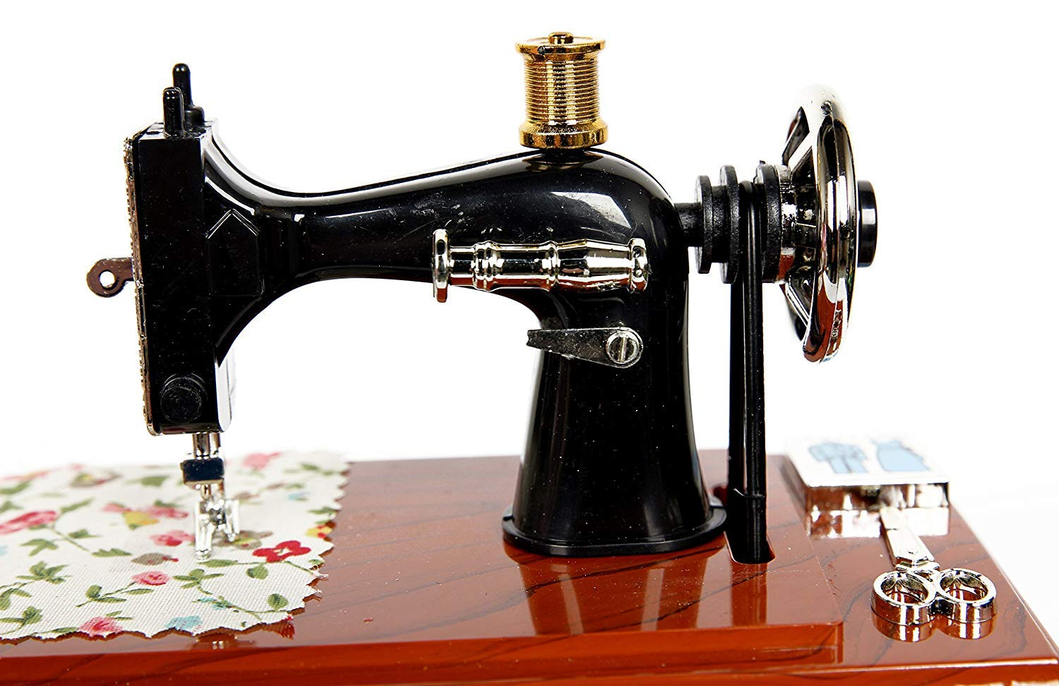 Vintage Mini Sewing Machine Style Plastic Music Box Table Desk Decoration Toy Gift for Kid Children
