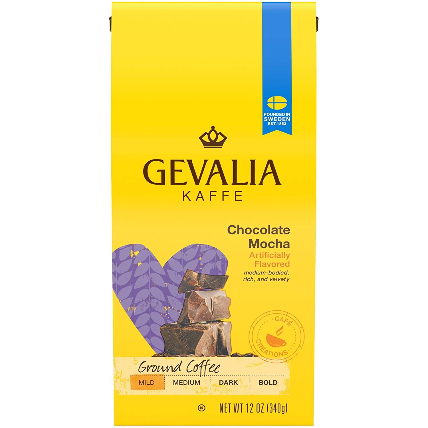 Gevalia Chocolate Mocha Mild Roast Ground Coffee (12 oz Bags, Pack of 6)