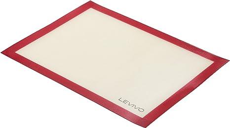 Estera para Hornear Rojo 30 x 40 cm L/ámina de Horno Apta para el Lavavajillas Estera de Horno Antiadherente Levivo Tapete para Hornear de Silicona