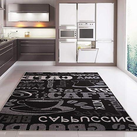 Teppich Coffee Design Modern Kaffee Muster in Schwarz ideal für die Cafe  Lounge oder Küche Sisal Optik Verschiedene Schriftzüge 120x170 cm