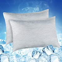 Elegear 2Pcs Cool Pillowcases for Hair and Skin, 2-in-1 Design Pillow Cases for Help Sleep with Japanese Cooling Silk…