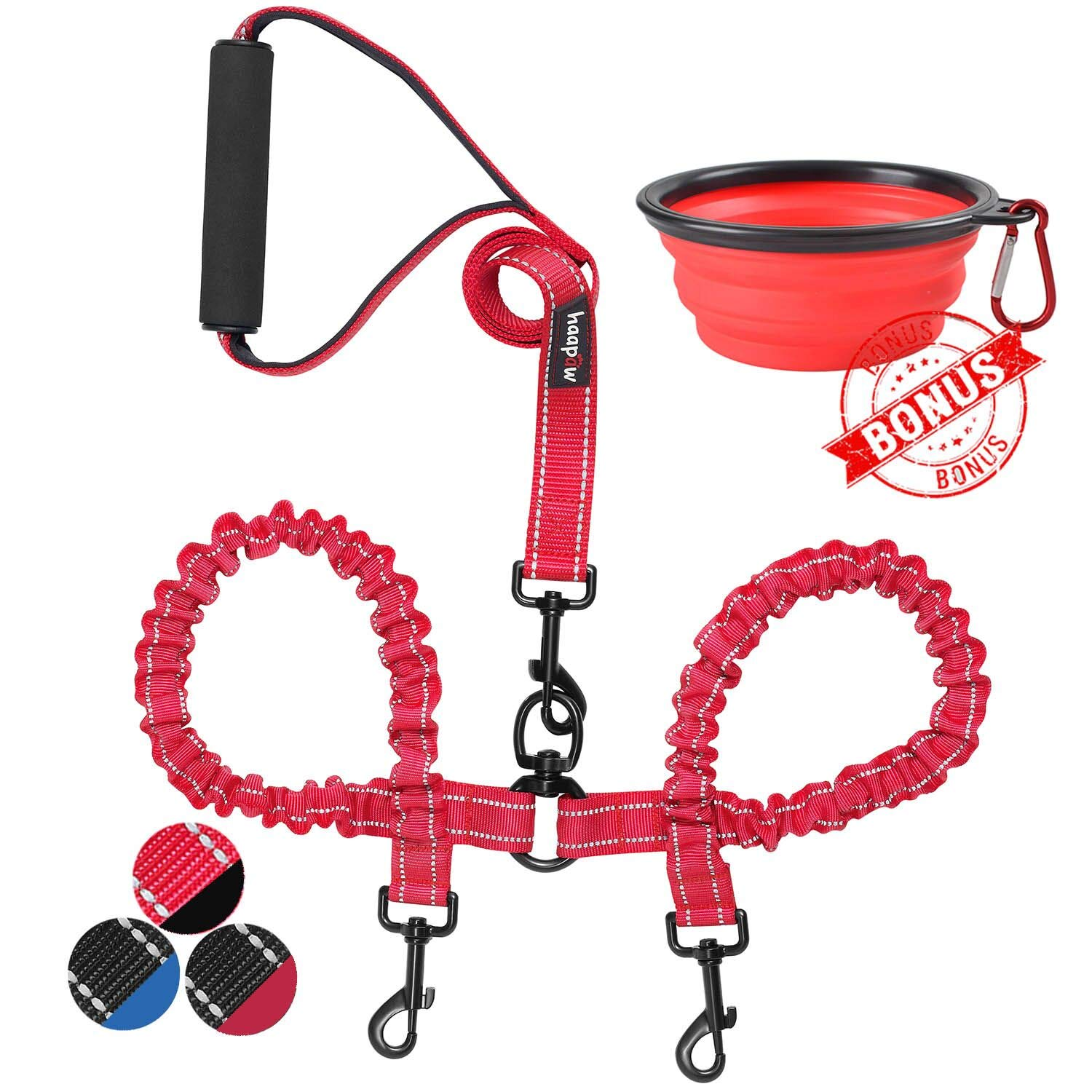 Red Black haapaw Two Dog Leash Coupler 2 Dog Leash Tangle Free, Stretchable from 20 to 35 Inch Comfortable Handle Dual Dog Leash for 2 Dogs with a Free Collapsible Dog Bowl (red Black)