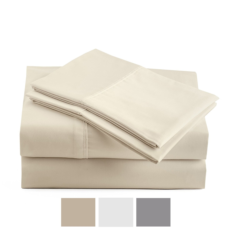 Peru Pima - Temperature Regulating Sheets - 600 Thread Count - 100% Peruvian Pima Cotton - Sateen - Bed Sheet Set - King, Ivory