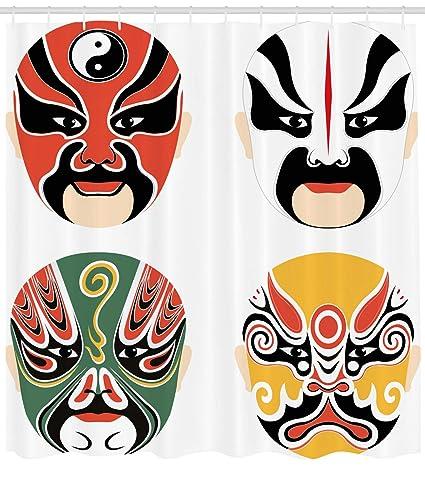 Kabuki máscara decoración cortina de ducha por Ambesonne, cultural ...