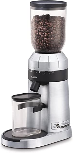 Sunbeam Café Series Conical Burr Coffee Grinder | 24 Grind Settings | 250g Bean Hopper | Grounds Container | for Espresso, Filter, Turkish Coffee & More | Stainless Steel