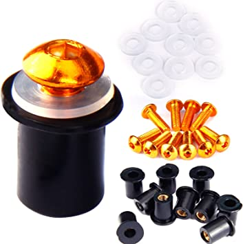 10 x Motorcycle Orange Windscreen Windshield Well Nuts Washers Aluminum Bolt