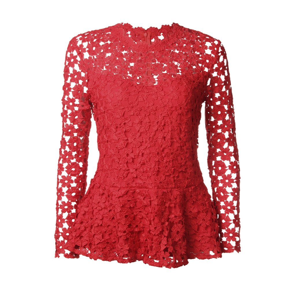 Mujer y Niña otoño fashion,Sonnena ❤ Tops de manga larga con encaje de flores para mujer O cuello blusa hueca Camiseta de fiestas y fechas: Amazon.es: ...