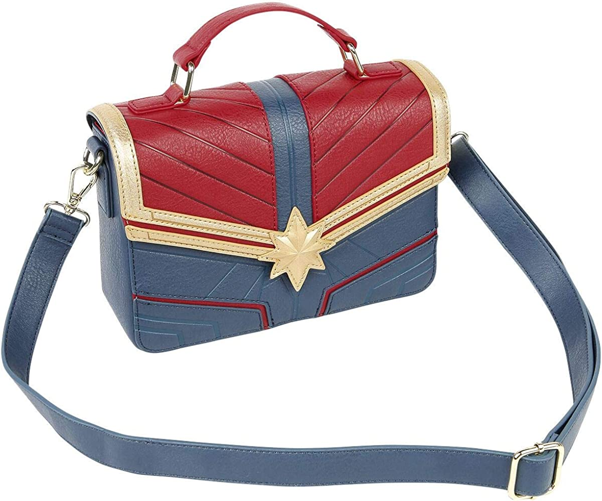 Brand New Marvel Captain Marvel Faux Leather Crossbody Purse Shoulder Bag Tote