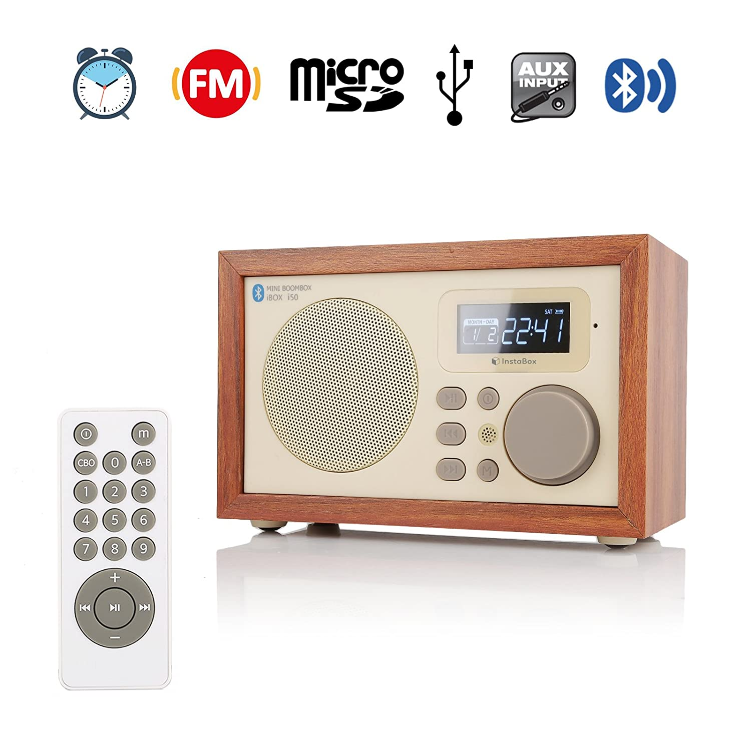 InstaBox i50 Wooden Digital Multi-Functional Speaker with Bluetooth FM Radio Alarm Clock MP3 Player Supports Micro SD/TF Card and USB with Remote Control 945000374