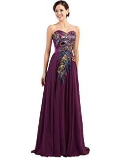 Edith Windsor Womens Strapless Peacock Embroidered Chiffon Evening Dress