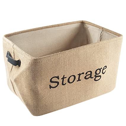 Tosnail Collapsible Linen Jute Storage Bins Nursery Baskets with Leather Handle For Bedroom Closet  sc 1 st  Amazon.com & Amazon.com: Tosnail Collapsible Linen Jute Storage Bins Nursery ...