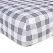 Burt's Bees Baby - Fitted Crib Sheet, Boys & Unisex 100% Organic Cotton Crib Sheet for Standard Crib and Toddler Mattresses (Grey Buffalo Check Pattern)