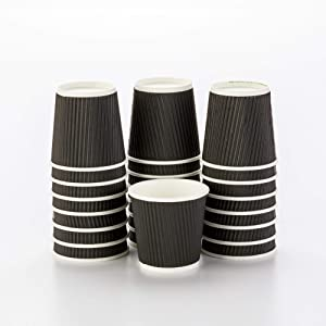 500-CT Disposable Black 4-OZ Hot Beverage Cups with Ripple Wall Design: No Need for Sleeves - Perfect for Cafes - Eco-Friendly Recyclable Paper - Insulated - Wholesale Takeout Coffee Cup