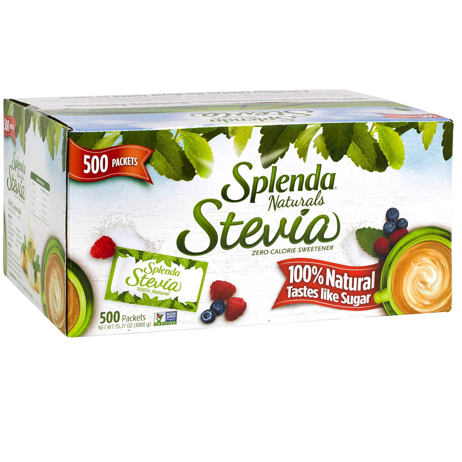 SPLENDA Naturals Stevia Sweetener: No Calorie, All Natural Sugar Substitute w/ No Bitter Aftertaste. Single Serve Granulated Packets (500 Count)