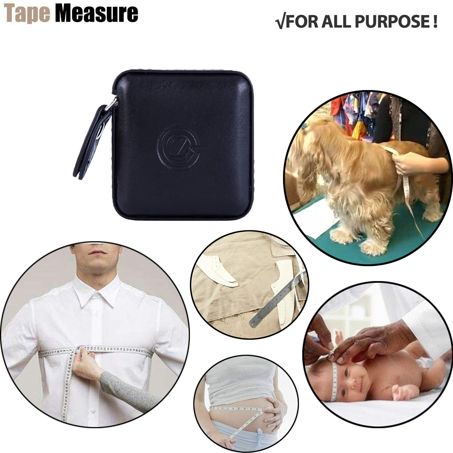 Medical Body Cloth Tailor Craft Dieting Measuring Tape 60 Inch//1.5M Dual Sided Retractable Ruler with Push Button Square 1 Pack, Blue Sewing Tape Measure