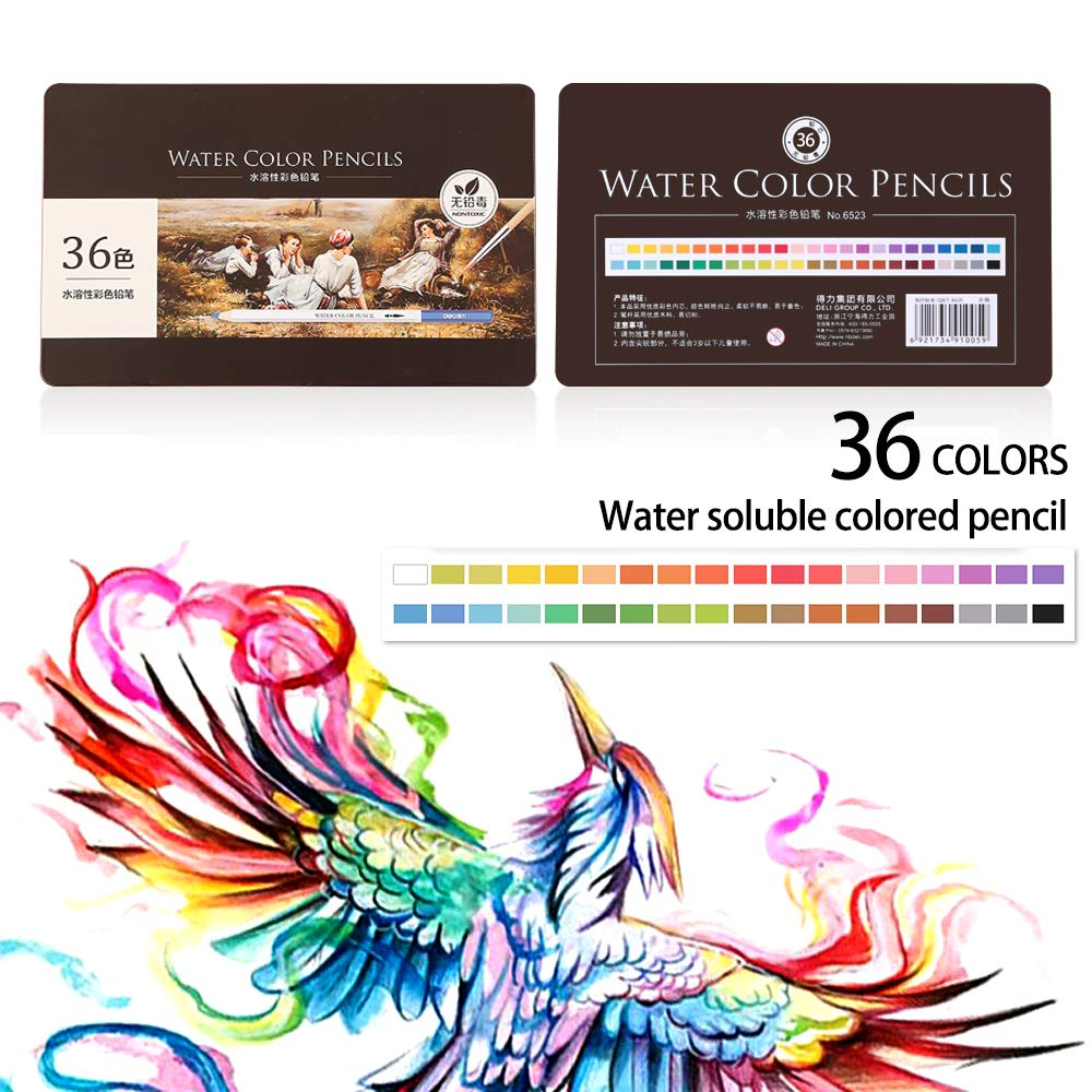 Advanced Soft Nuclear Watercolor Pencils 36 Bright Colors Great Gifts for Creative Children /& Painters YASSUN Deluxe Color Pencil Set